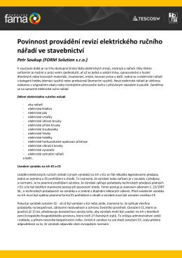 Povinnost provádění revizí elektrického ručního