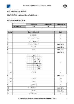 Maturitní zkouška 2012 – podzimní termín KLÍČ