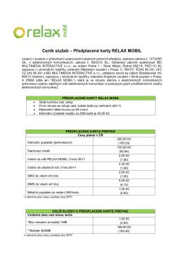 Ceník služeb – Předplacené karty RELAX MOBIL
