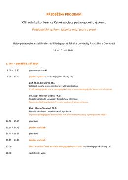 Předběžný program konference - Pedagogický výzkum: spojnice