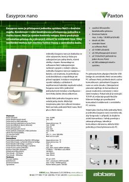 Easyprox nano - Přístupový systém Paxton