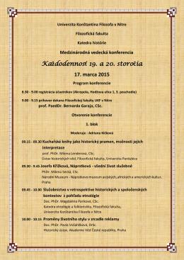 Program - FF - Univerzita Konštantína Filozofa v Nitre