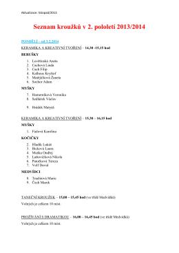 Seznam kroužků v 2. pololetí 2013/2014