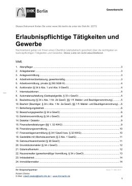 Merkblatt-Erlaubnispflichtige Tätigkeiten und Gewerbe
