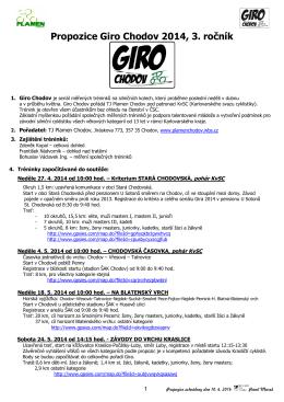 Propozice Giro Chodov 2014, 3. ročník