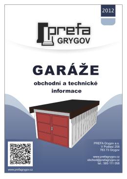 prefabrikované garáže – technické listy, ceník PDF