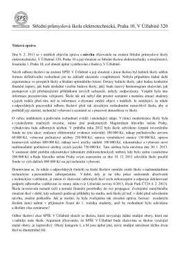 Tisková zpráva - SPŠE, V Úžlabině 320, Praha 10
