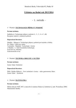 Učebnice na školní rok 2013/2014