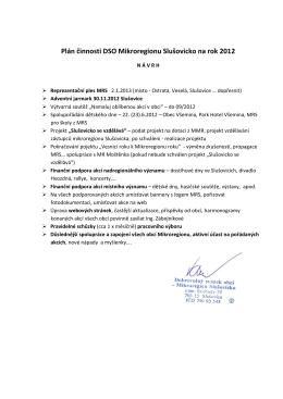 Plán činnosti DSO Mikroregionu Slušovicko na rok 2012