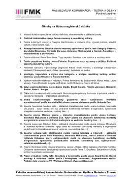 Masmediálna komunikácia - teória a dejiny