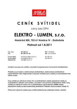ELEKTRO - LUMEN, sro Hranická 505, 753 61 Hranice IV