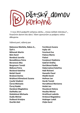 ind.dárci 2013 - Soukromý dětský domov Korkyně