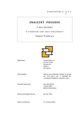 Znalecký posudek Tomos Praha a.s.