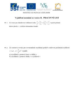 Vyjádření neznámé ze vzorce II. PRACOVNÍ LIST