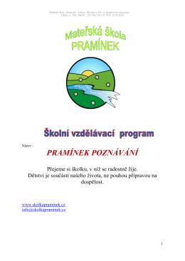 PRAMÍNEK POZNÁVÁNÍ - Mateřská škola Pramínek