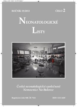 Ročník 19 - 2013 - číslo 2 - Česká Neonatologická Společnost