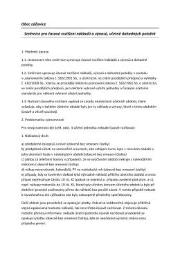 Obec Lážovice Směrnice pro časové rozlišení nákladů a výnosů