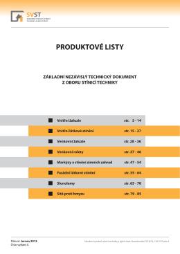 Produktové listy stínicí techniky 2013