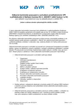 Odborné technické posouzení a schválení prostřednictvím VPI s