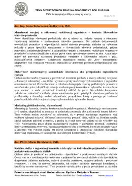 doc. Ing. Ivana Butoracová Šindleryová, PhD. doc. PhDr. Mária