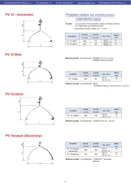 Podpěra vedení na vrcholu krovu (standardní typy)