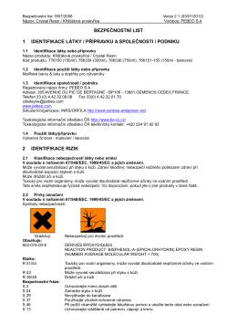 Bezpečnostní list – Akrylový lak ve spreji