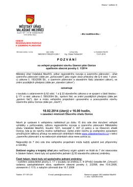 Pozvání k veřejnému projednání Územního plánu Oznice OOP č. 1