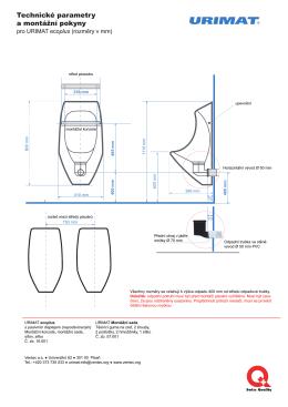 Technické parametry a montážní pokyny
