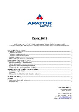 CENÍK 2013 - APATOR METRA sro