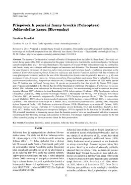 Příspěvek k poznání fauny brouků (Coleoptera) Jelšavského krasu