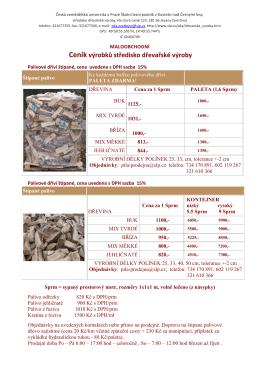 Ceník řeziva a ostatních sortimentů - Školní lesní podnik v Kostelci