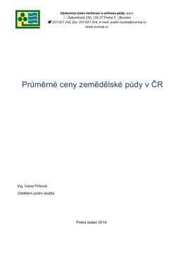 Průměrné ceny zemědělské půdy v ČR