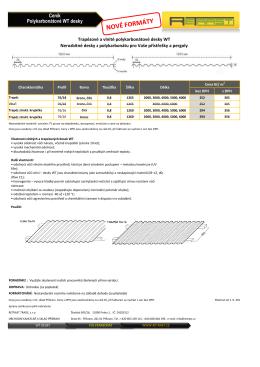 Ceník - WT desky polykarbonát