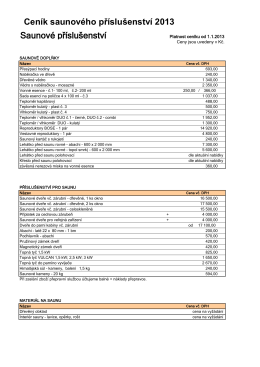 Ceník saunového příslušenství 2013 Saunové