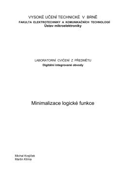 4. Minimalizace logické funkce