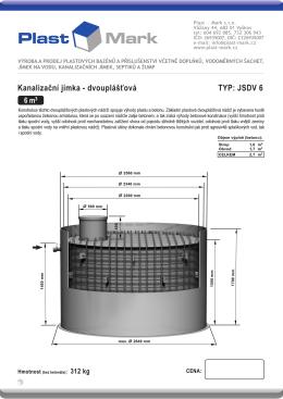 Kanalizační jímka - dvouplášťová TYP: JSDV 6 - Plast-Mark