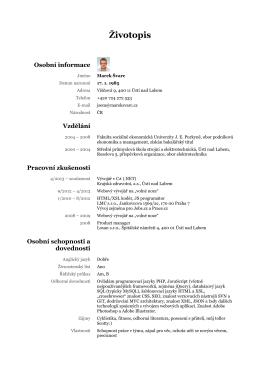 CV - Tvorba webových stránek Ústí nad Labem