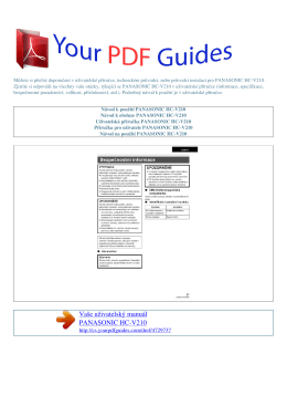 Uživatelská příručka PANASONIC HC-V210