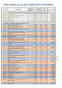Ceník odpadů na rok 2015 skládka .A.S.A. Praha Ďáblice