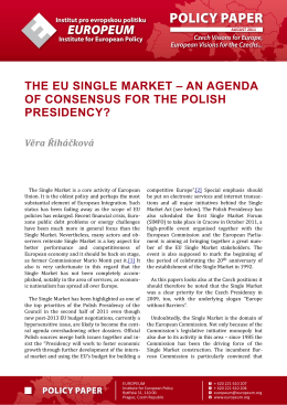 the eu single market - EUROPEUM - Institut pro evropskou politiku