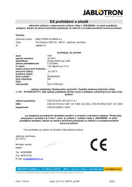 ES prohlášení o shodě - Jablotron alarms a.s.