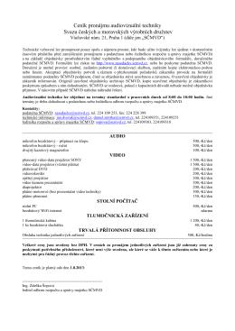 Ceník pronájmu techniky do jednacích místností od 8/2013 (PDF)