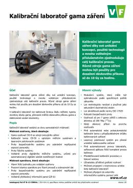 Katalogový list Kalibrační laboratoř gama záření s