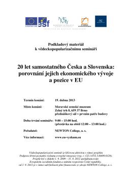20 let samostatného Česka a Slovenska