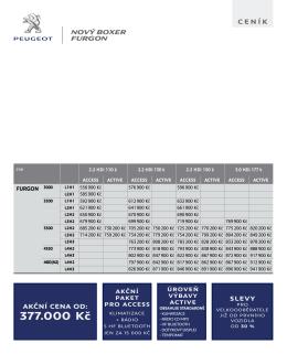 Ceník a tech. data vozu Nový Peugeot Boxer Furgon