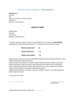 VZOR – Mzdový výměr - HR formuláře a vzory