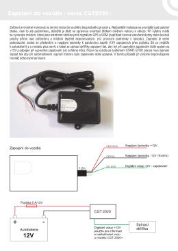 Zapojení do vozidla - verze CGT2020+