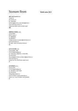Seznam vystavovatelů - Výstaviště České Budějovice as