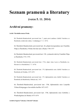 List of archival sources, published sources and literature