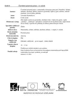 DUM 9 Čtvrtletní písemná práce – 4. ročník